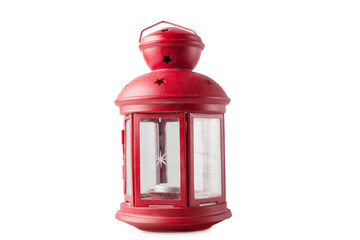 Red decorative lantern on a white background