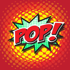 POP! wording sound effect set design for comic background