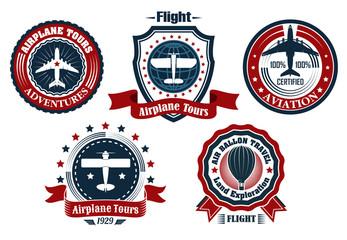 Retro aviation and flight emblems