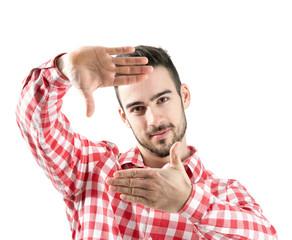 Bearded man showing finger frame isolated