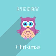 Christmas card with owl