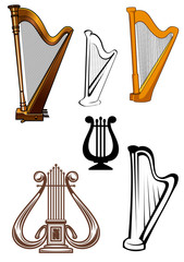 Harps ans lyres stringed musical instruments