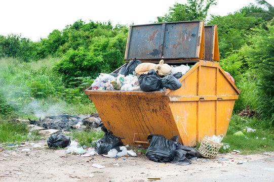 yellow dumpster