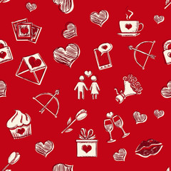 Vector Seamless Pattern Background for Valentines Day
