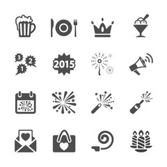 new year party icon set 3, vector eps10