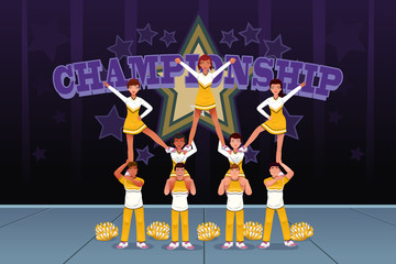 Cheerleaders in a cheerleading competition