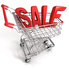 Red shopping cart with sale sign, isolated on white background