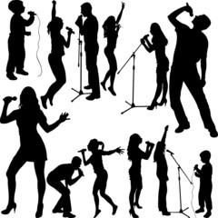 singers silhouette set vector