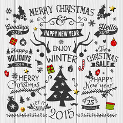 Vintage Christmas Design Elements Collection