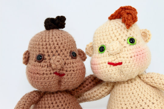Two Handcrafted Baby Dolls Close-Up