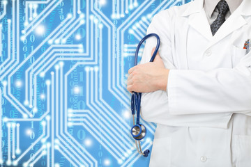 Doctor with stethoscope in hand and blue curcit on background
