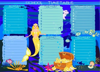 School timetable with mermaid