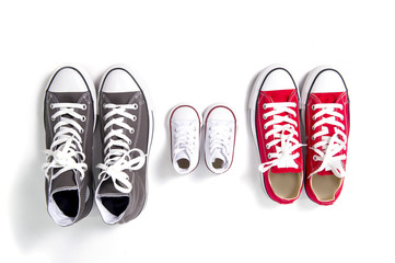 dad mum and son sizes shoes in family love concept