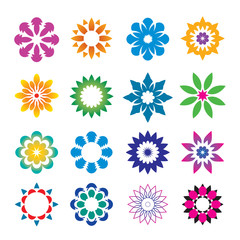 Set of color geometric flowers