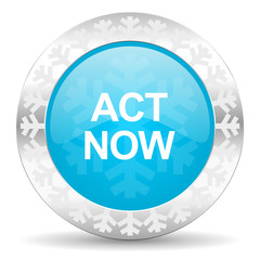 act now icon, christmas button