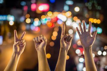 2015 sign hand on Lights christmas bokeh background