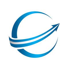 3D global arrow logo