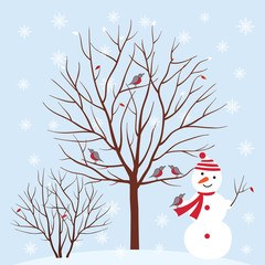 Winter. Snowman in winter park, trees with birds.