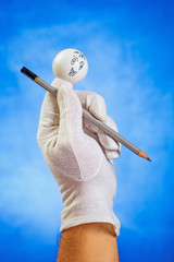 Happy finger puppet with pencil