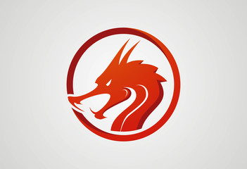 Dragon head red in circle logo vector