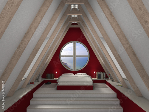 Dachbodenausbau Interior Schlafzimmer Stock Photo And Royalty Free