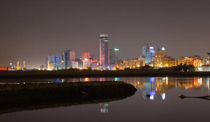 Night city skyline. Manama, the Capital of Bahrain Kingdom