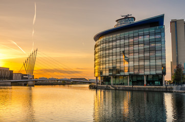 Sunset over Salford Quays, Manchester