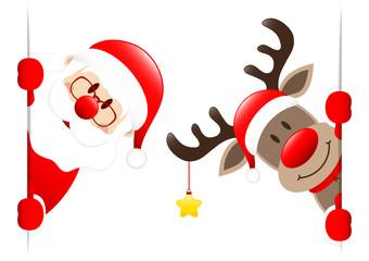 Santa & Rudolph Golden Star Banner