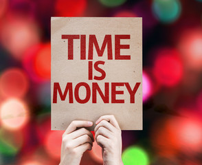 Time Is Money card with colorful background