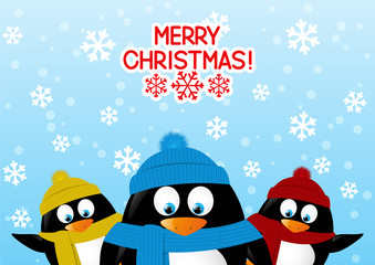 Funny cartoon penguins on winter background