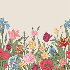 Spring flowers. Seamless floral border.
