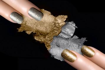 Silver and Gold Nail Polish and Mineral Eye Shadow