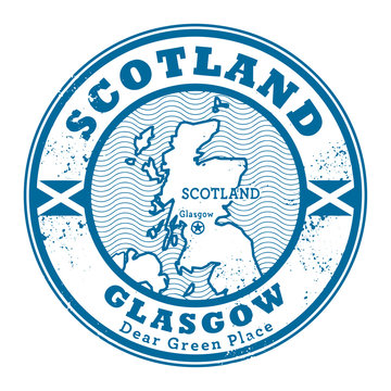 Grunge rubber stamp with words Scotland, Glasgow