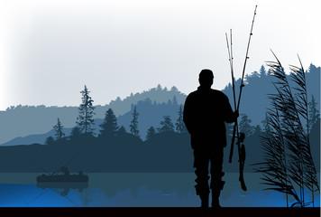 fisherman silhouette at morning