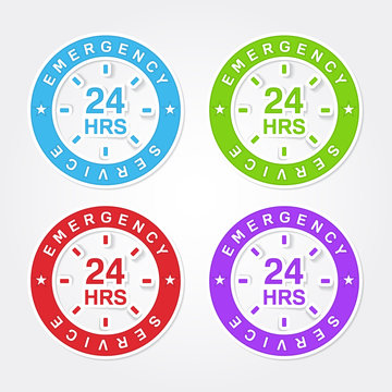 24 Hours Emergency Service Colorful Vector Icon Design