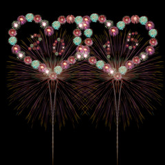 New Year Concept,heart fireworks New Year 2015