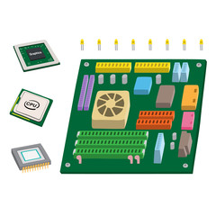 Computer Mother Board CPU Graphic Card Vector