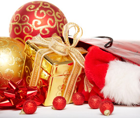 Gift boxes and christmas baubles,Isolated on white.