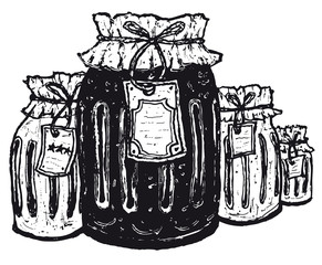 Old jars with paper label
