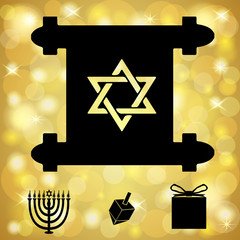 Hanukkah Symbols On a Golden Light Background