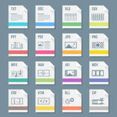 vector flat light colors file formats icons with symbols