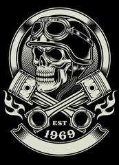 Vintage Biker Skull With Crossed Piston Emblem