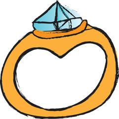 doodle retro diamond wedding ring
