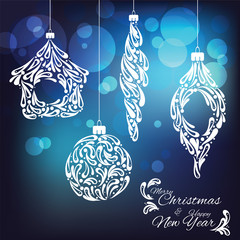 Vector ornamental new year toys on abstract background