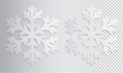 Glass transparent snowflake. Christmas vector illustration