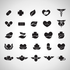Medical Icons Set - Isolated On Gray Background