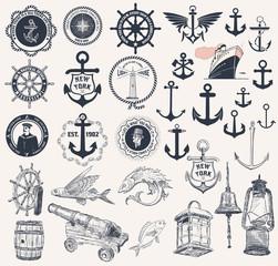 Vector. Set of nautical elements