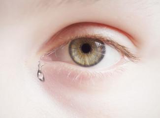 crying children's eye.  high key, selective focus