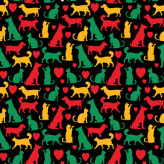 Vector seamless pattern with cats and dogs on black backgground