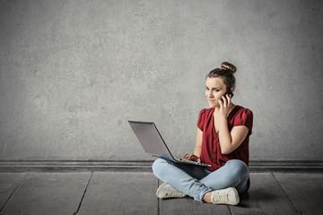 Girl using technology